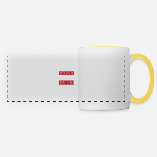 Head Coach Shirt Mugs & Drinkware - Head Coach - I don't have superpower - Panoramic Mug white/yellow