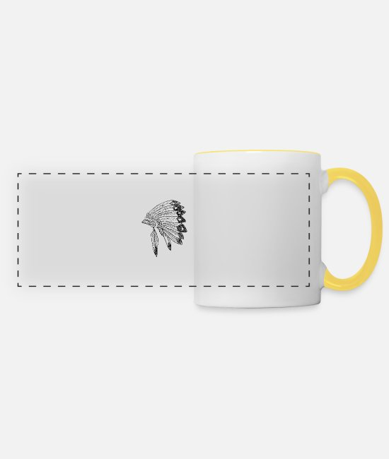 Haircut Mugs & Drinkware - Indian headdress - Panoramic Mug white/yellow