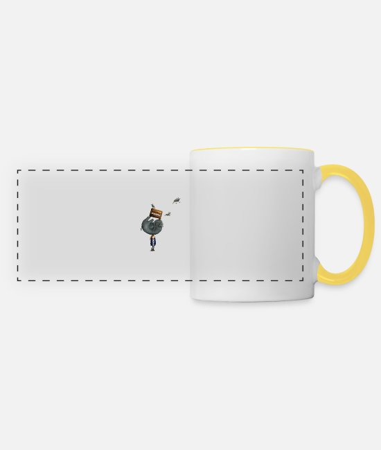Raven Mugs & Drinkware - Elephant On The Head - Panoramic Mug white/yellow