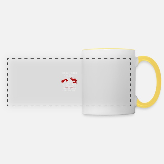 Biker Mugs & Drinkware - Motorcycle Shirt · Superbike · Biker · Race Machine - Panoramic Mug white/yellow