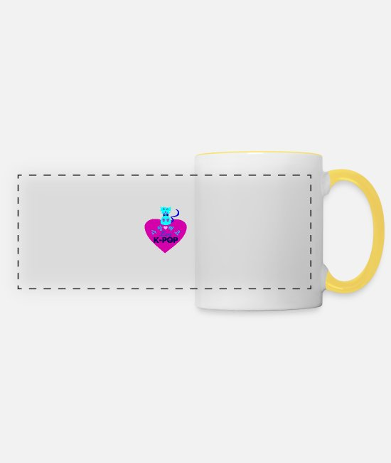 I Love K Pop Fabulous K Pop Vector Design For Must Have Cool K Pop Stylish Clothing Mugs & Drinkware - ♥♫I Love Kpop-Saranghaeyo KPop-Kpopholic♪♥ - Panoramic Mug white/yellow