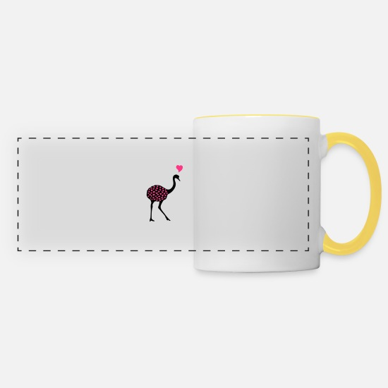Love Mugs & Drinkware - Ostrich - Panoramic Mug white/yellow