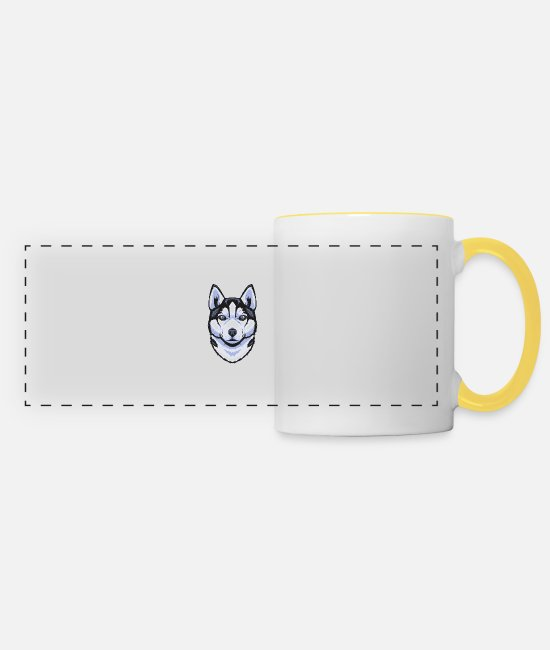 Boss Mugs & Drinkware - Siberian Husky - Panoramic Mug white/yellow