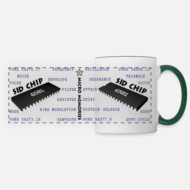 Coder Mugs & Drinkware - C64 6581 SID Chip Programmers Mug - Panoramic Mug white/dark green