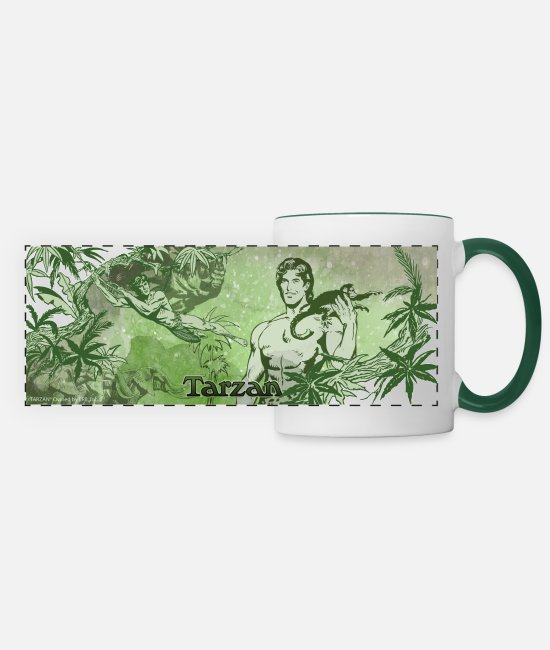 Nature Mugs & Drinkware - Tarzan with apes and liana - Panoramic Mug white/dark green
