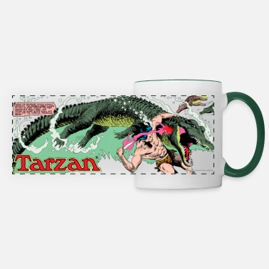 Wolfskind Tarzan fighting with a crocodil - Panoramic Mug