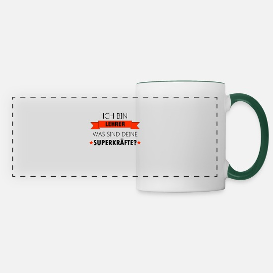 Gift Idea Mugs & Drinkware - Teacher Teacher Teacher Teaching Gift - Panoramic Mug white/dark green
