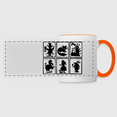 Alice in wonderland characters - Mug panoramique contrasté et blanc