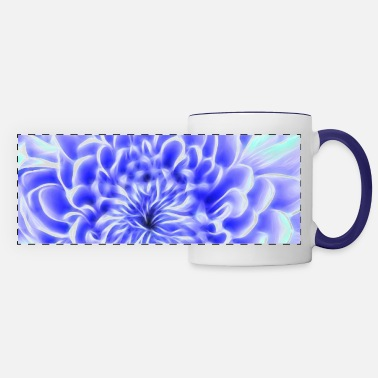 Chrysanthemum Blue glowing chrysanthemum - Panoramic Mug