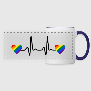 Rainbow Hearts and Heartbeat, Gay ECG - Panoramamugg