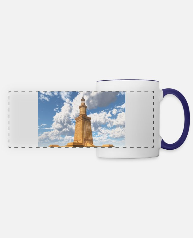 Monument Mugs & Drinkware - Pharos of Alexandria - Panoramic Mug white/cobalt blue