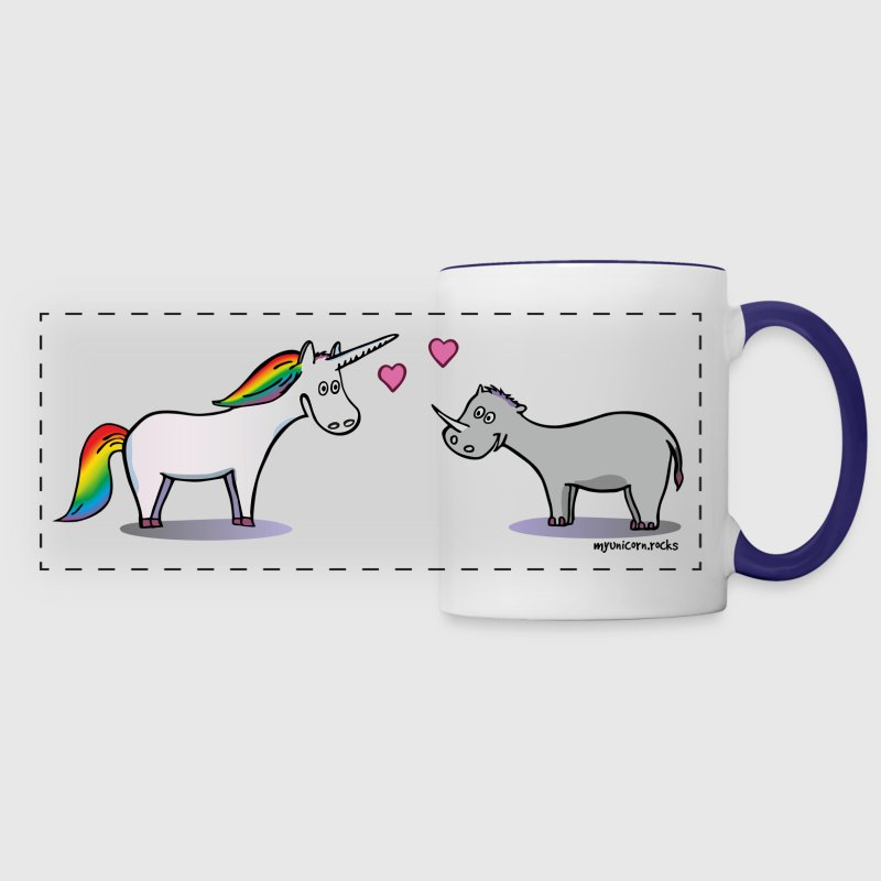 Unicorn & Rhino in love - licorne amoureuse - Mug panoramique contrasté et blanc