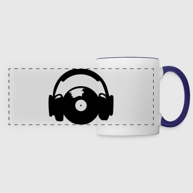 Headphones and vinyl record - Taza panorámica
