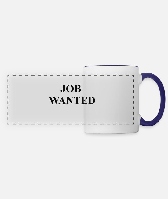 Office Mugs & Drinkware - JOB WANTED - Panoramic Mug white/cobalt blue