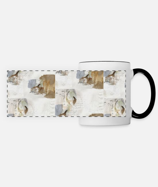 Office Mugs & Drinkware - Abstract Leaves in Neutral Colours - Panoramic Mug white/black