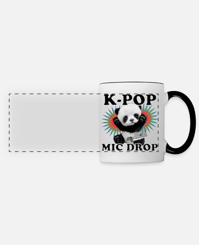 Pink Mugs & Drinkware - K-Pop Mic Drop - Panoramic Mug white/black