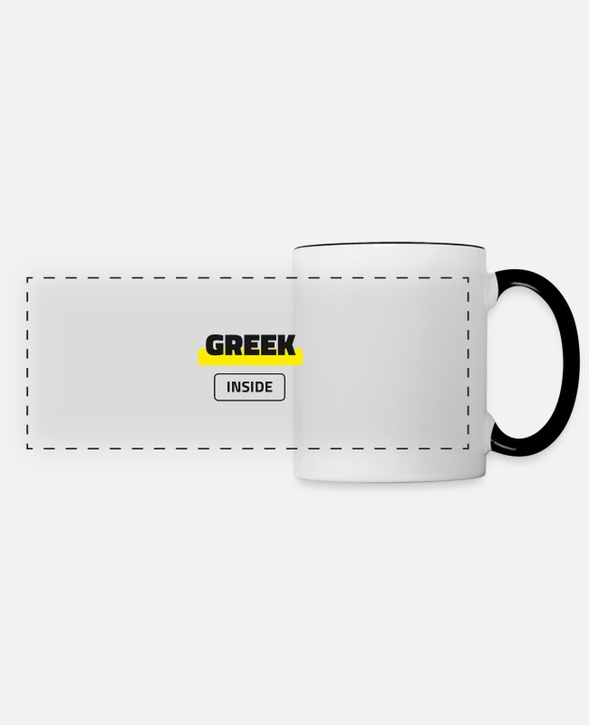 Greece Mugs & Drinkware - Greek Inside - Panoramic Mug white/black