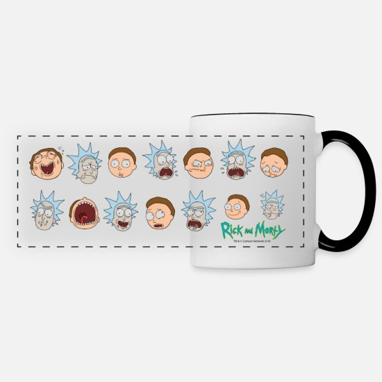 Officialbrands Mugs & Drinkware - Rick and Morty Expressions - Panoramic Mug white/black