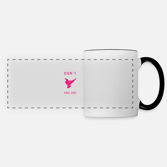 Martial Arts Mugs & Drinkware - Ponytail Funny Taekwondo Gifts Funny Karate Gifts - Panoramic Mug white/black