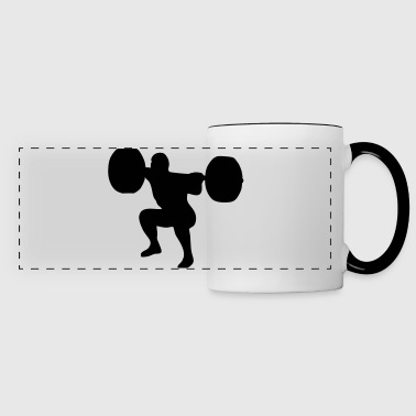 weightlifting, weightlifter, weight lifter - Mug panoramique contrasté et blanc