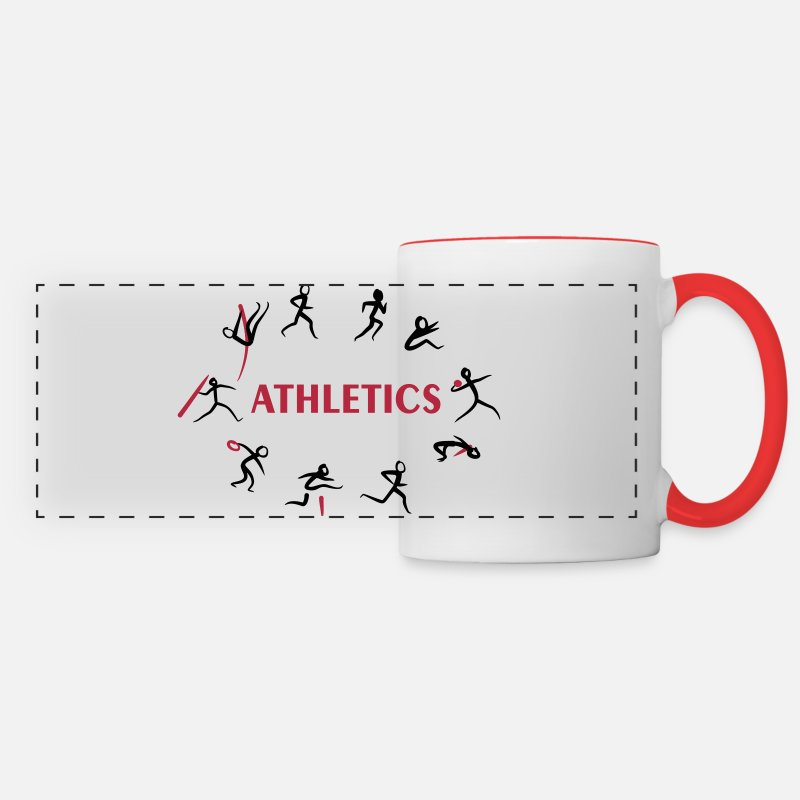 Sportif Mugs et récipients - Decathlon, Track and Field - Mug panoramique blanc/rouge