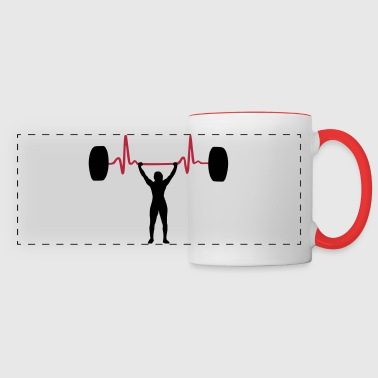 Weightlifting Woman & Heartbeat - Mug panoramique contrasté et blanc