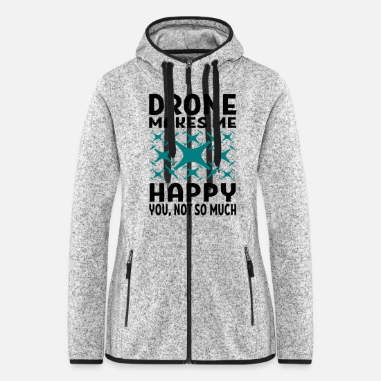 Pilot Jackets & Vests - Drones Makes Me Happy You Not So Much Design Gift - Women's Hooded Fleece Jacket light heather grey