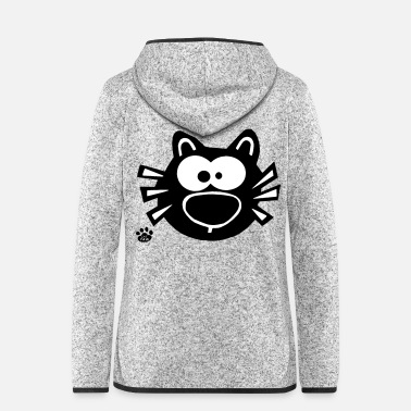 Funny Cats Face Cat I Love Cats Gifts Comic - Women's Hooded Fleece Jacket
