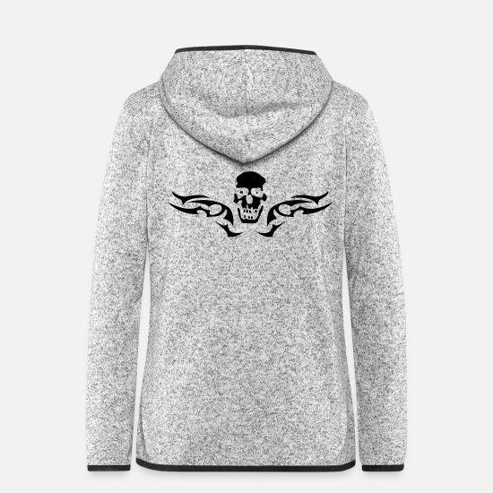 Drummer Jackets - tribal_skull_1c - Women's Hooded Fleece Jacket light heather grey