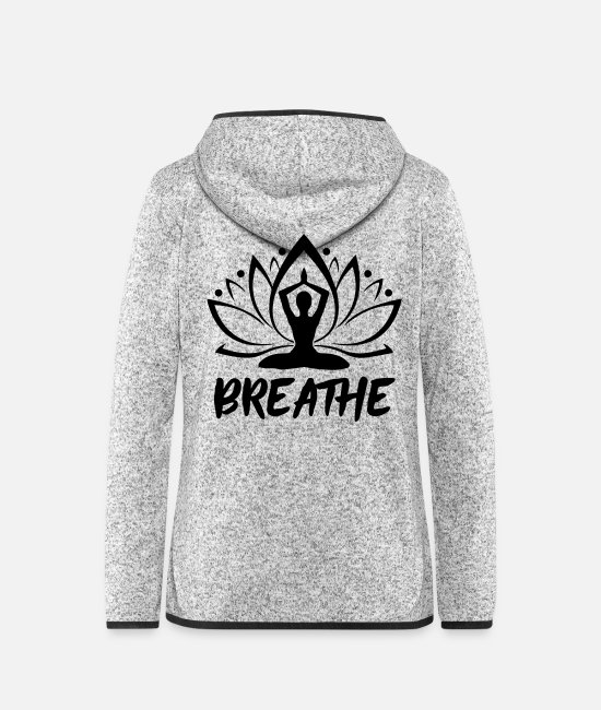 Hatha Jacken - Breathe - Gymnastics Yoga - Frauen Fleece Kapuzenjacke Hellgrau meliert
