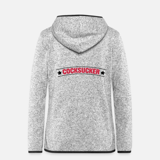 Hump Jackets - Sex Porn Blowjob Cocksucker - Women's Hooded Fleece Jacket light heather grey
