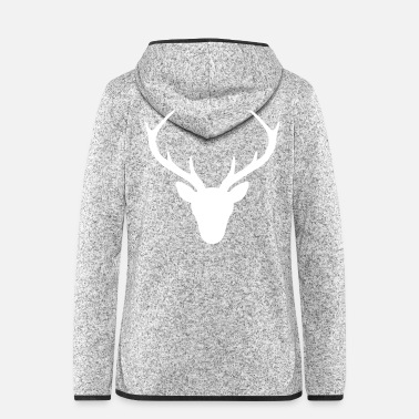Uni Deer Antler Silhouette Hunting Jger Gift - Women's Hooded Fleece Jacket
