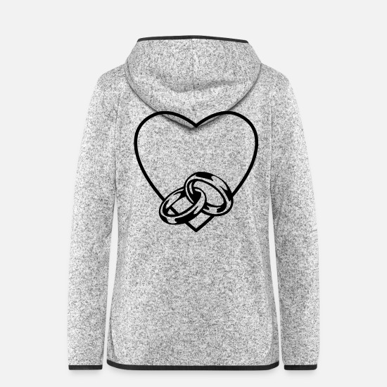 Love Jackets - Heart love marriage rings - Women's Hooded Fleece Jacket light heather grey