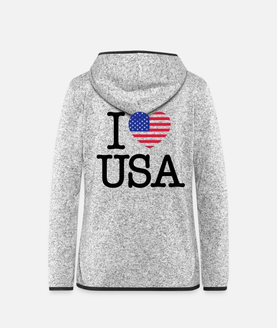 New York Jacken - I Love USA - Frauen Fleece Kapuzenjacke Hellgrau meliert