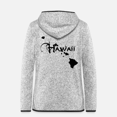 Cartography Hawaii, the surfers paradise island Ukulelisten. - Women's Hooded Fleece Jacket