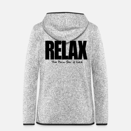 Here Jackets - relax the porn star is here - Women's Hooded Fleece Jacket light heather grey