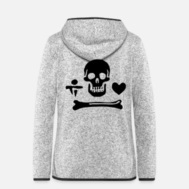 Piracy Pirate skull bones and heart - Women's Hooded Fleece Jacket