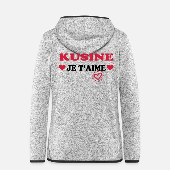 Dad Jackets - Kusine je t'aime - Women's Hooded Fleece Jacket light heather grey