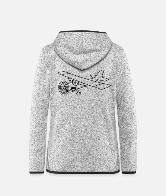 Pilot Jackets - cartoon cartoon clipart face alive propeller small - Women's Hooded Fleece Jacket light heather grey