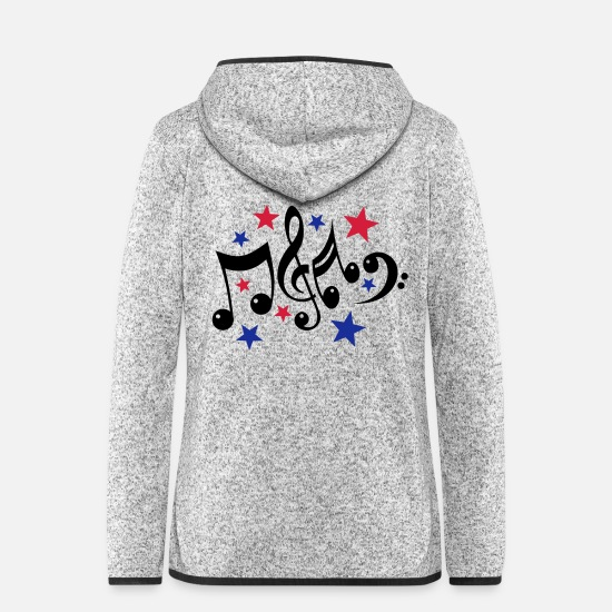 Artist Jackets - Music Notes and Stars 3c - Women's Hooded Fleece Jacket light heather grey