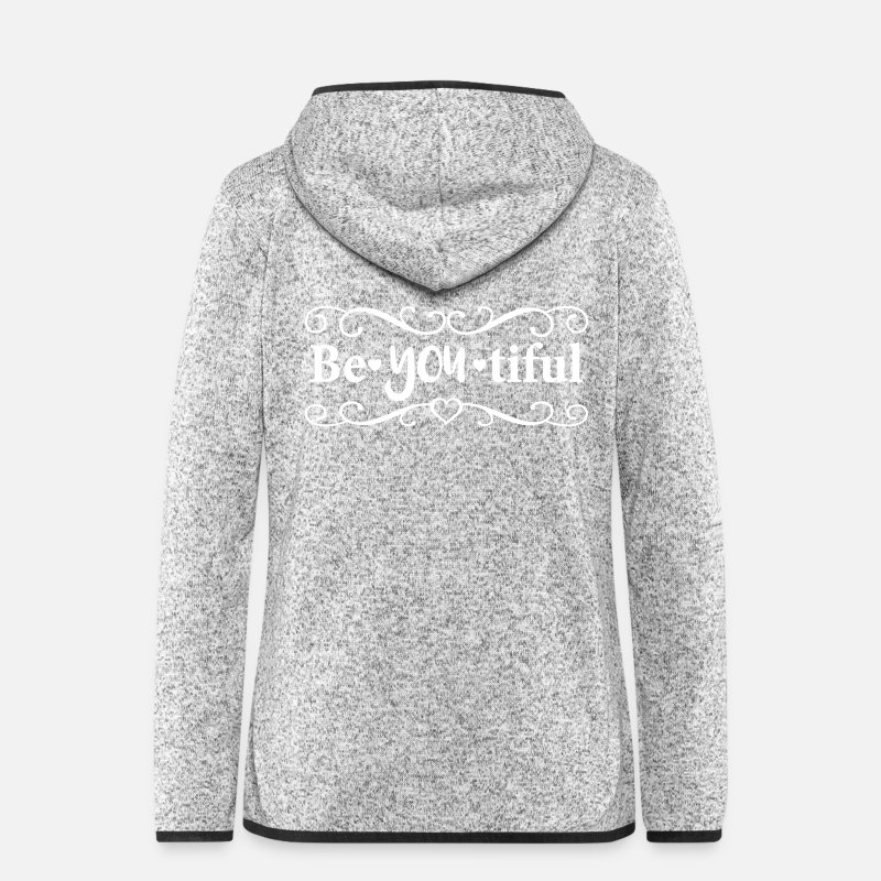 Love Jackets & Vests - Be ❤ You ❤ Tiful - Women's Hooded Fleece Jacket light heather grey