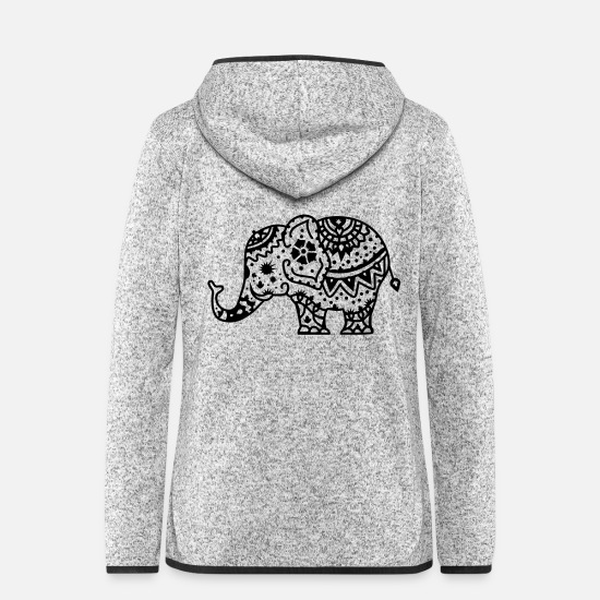 Tattoo Jackets - a decorated Indian elephant - Women's Hooded Fleece Jacket light heather grey
