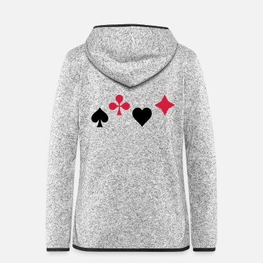 Pik Spades Ass Heart Poker Blackjack Symbol Cards Casino - Women's Hooded Fleece Jacket