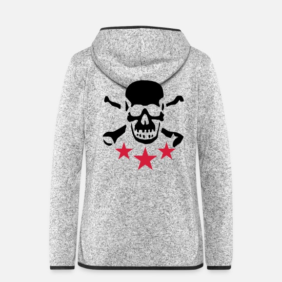 Drummer Jackets - skull_072011_b_2c - Women's Hooded Fleece Jacket light heather grey