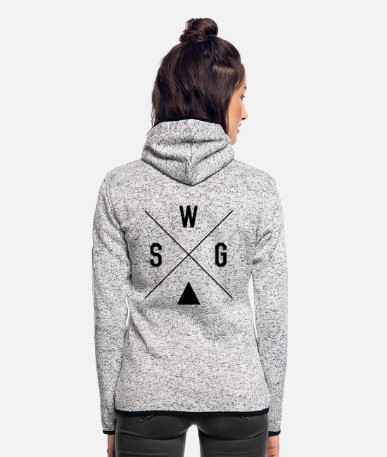 Hipster Jacken - Swag Cross - Frauen Fleece Kapuzenjacke Hellgrau meliert