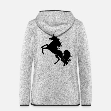 Mythical Beast Unicorn silhouette - Women's Hooded Fleece Jacket