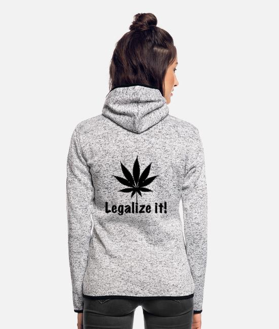 Rastafari Jacken - Legalize it! Marihuana Joint Cannabis Ganja kiffen - Frauen Fleece Kapuzenjacke Hellgrau meliert