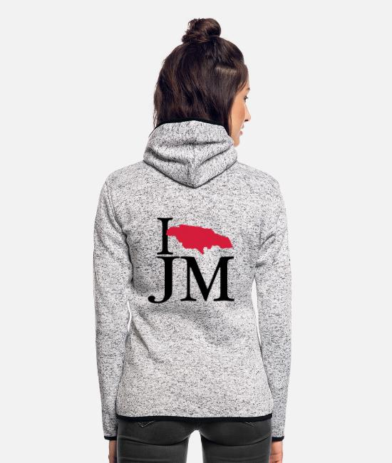 Rasta Jackets - I love JM - I love Jamaica - Women's Hooded Fleece Jacket light heather grey