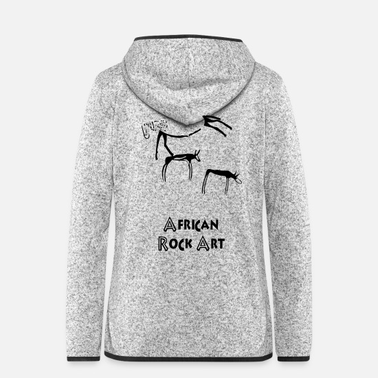 Art Jackets - African rock art - Women's Hooded Fleece Jacket light heather grey
