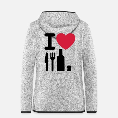 Cork I love NY knife fork bottle cork New York - Women's Hooded Fleece Jacket